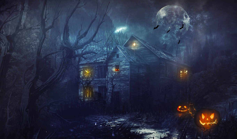 halloween, тыквы, house,