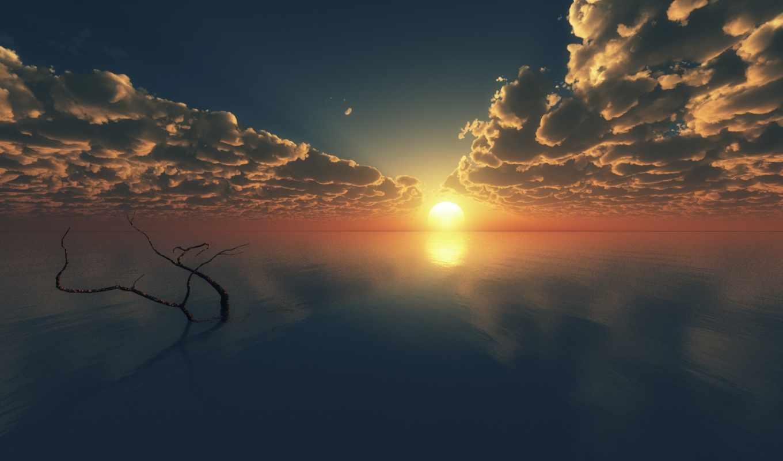 горизонт, закат, oblaka, море, art, дерево, branch, гладь, ocean, небо,