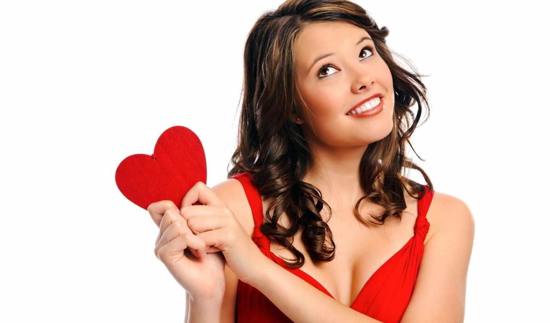сердце, девушка, настроения, улыбка, love, платье, красное, волосы, white, радость,