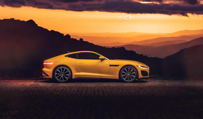 , машина, автомобильный дизайн, performance car, спортивный автомобиль, желтый, небо, роскошный автомобиль, суперкар, 2020 jaguar f-type r coupe, ягуар, jaguar cars, 2014 jaguar f-type coupe, 2019 jaguar f-pace svr, купе, 4k resolution