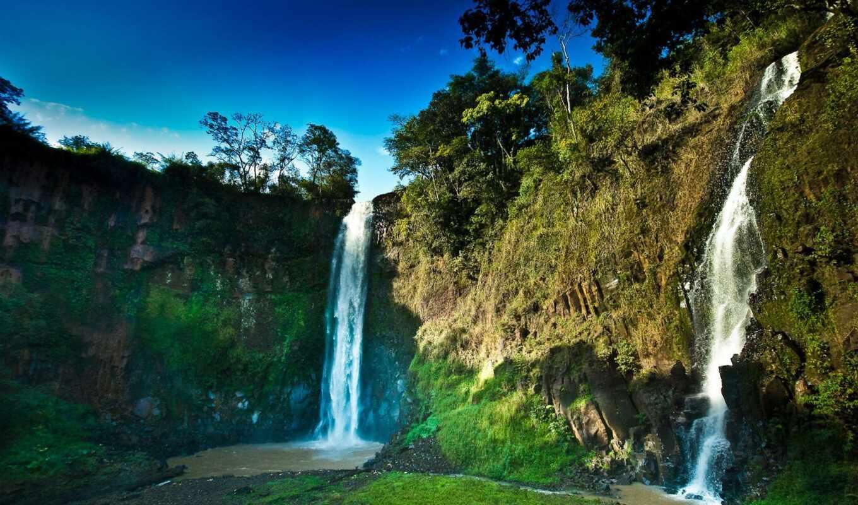 водопад, природа, озеро, jungle, tropical, лес, park, gidroresurs, water