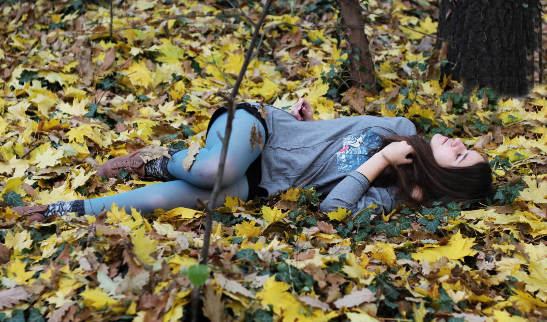 осень, лес, девушка, песочница, osennoi