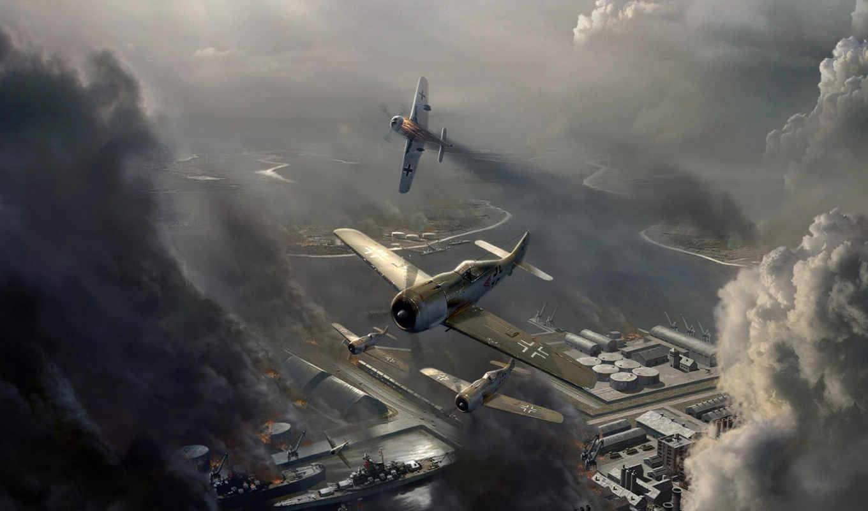 игры, онлайн, авиация, авиаудар, fw, небо, самолет, война, wulf, смърт, wallpaper, focke, облака, aircraft,