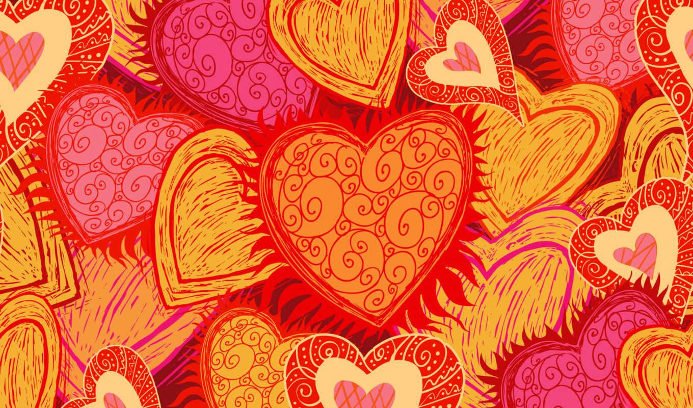 сердечки, оранжевые, узоры, оранжевый, hearts,