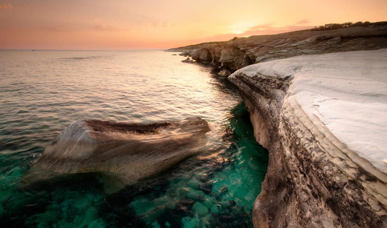 берег, кипр, побережье, море, вечер, закат, оранжевый, небо, облака, скалистый,