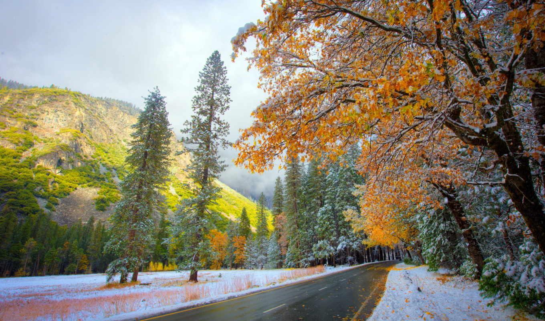 осень, дорога, природа, горы, лес, снег, пейзаж, картинка,