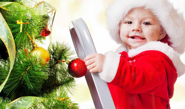 год, new, дети, младенцы, шарики, праздники, дерево, christmas,