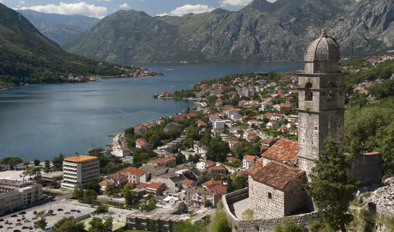 котор, montenegro, черногории, город, которского,