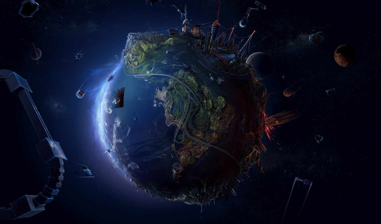 planeta, terra, futuro, digital, tierra, arte, more, вида,