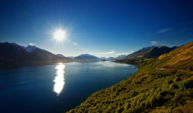 над, озером, озеро, rising, солнца, new, горным, zealand, природа,