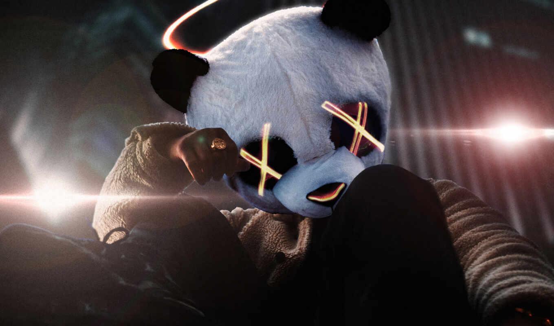 black, фото, фон, artwork, artist, панда, digital, art