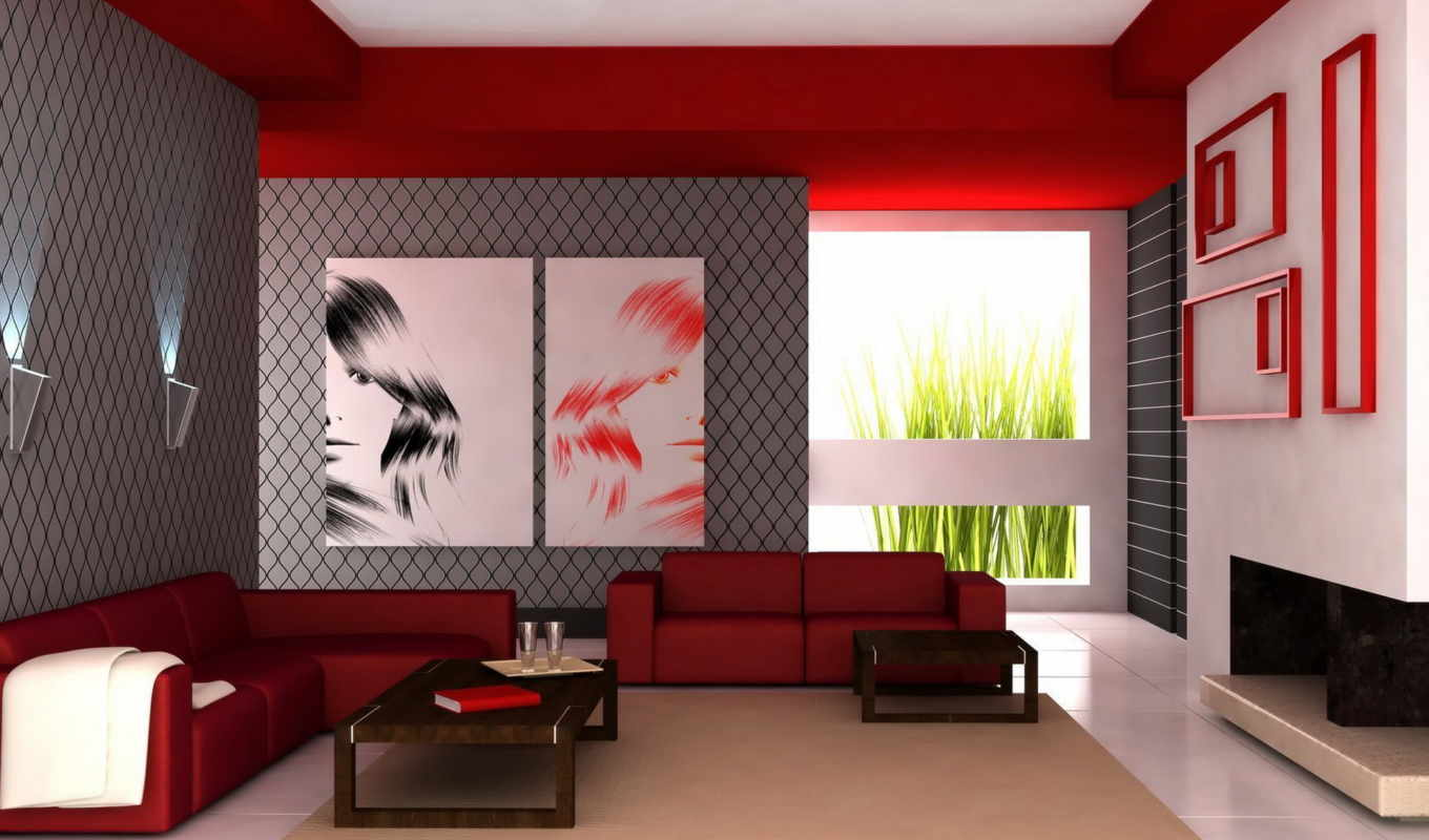 room, living, red, modern, design, bedroom, home, интерьер, colors, paint, ideas, диван, luxury,