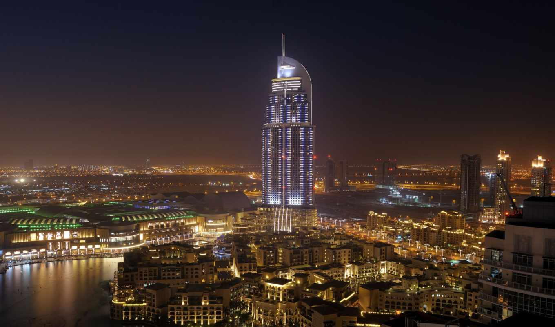 dubai, взгляд, uae, здания, море, небоскребы, ночь,