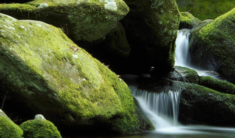 water, мох, картинка, скалы, водопад,