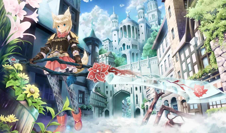 anime, art, меч, neko, девушка, город, цветы, оружие, взгляд, категории, mist,