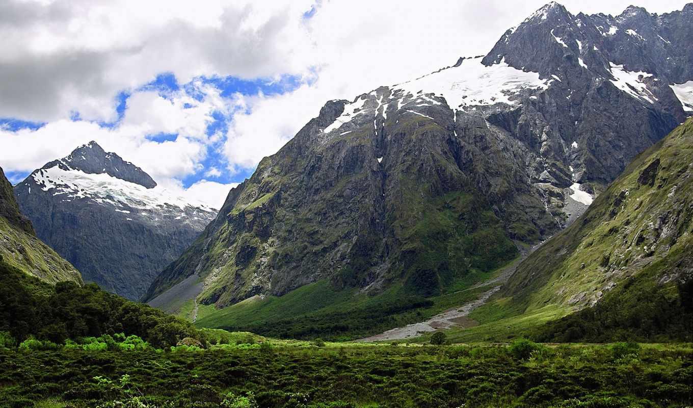 горы, zealand, новая, юго, piopiotahi, milford, sound,