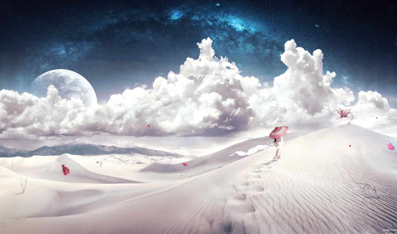 пустыня, fantasy, барханы, desktopography, арты, девушка, лепестки,