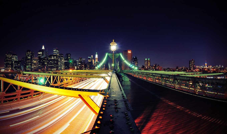 new, york, город, нью, ночь, desktop, мост,