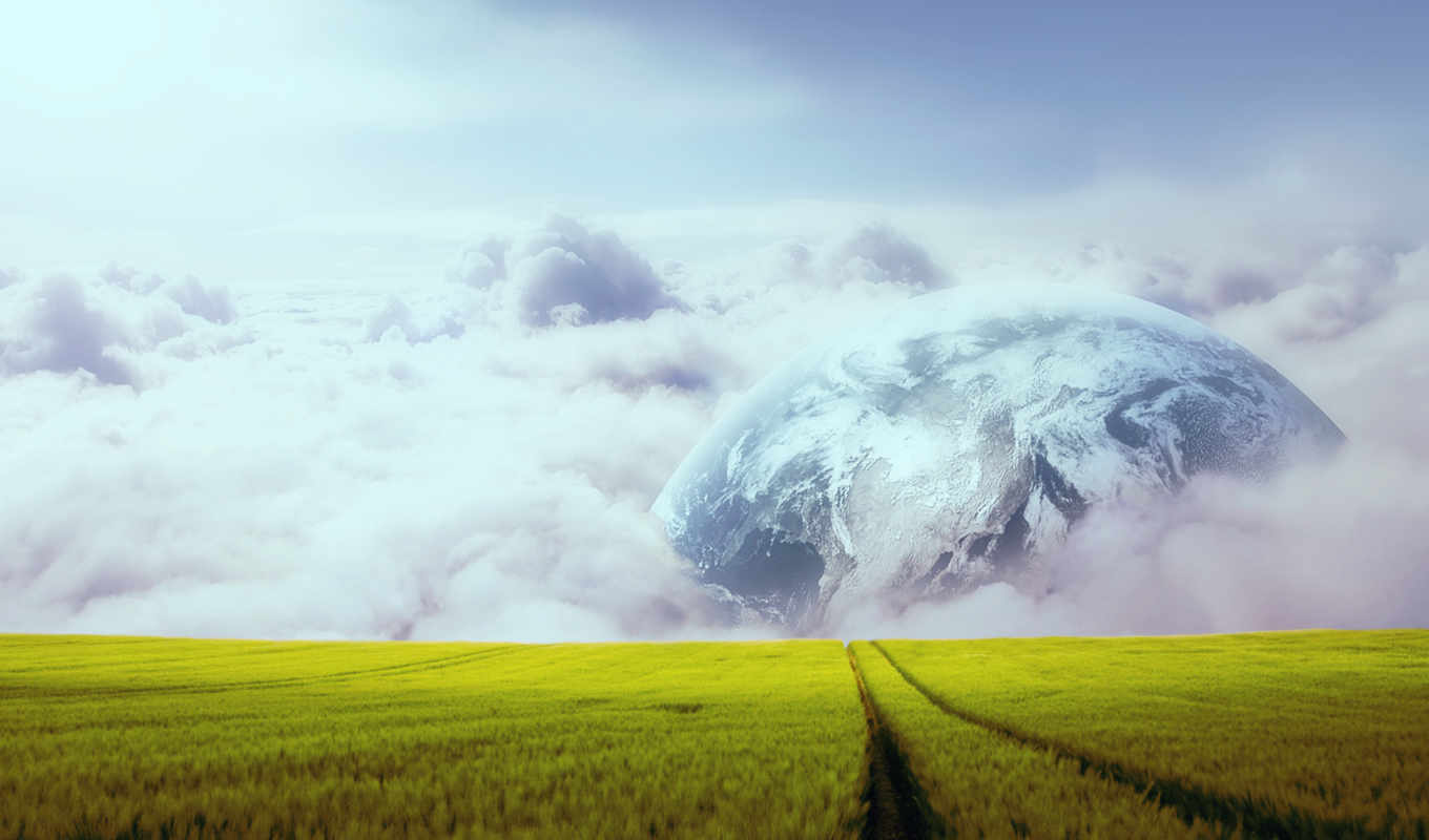 луна, горизонт, earth, clouds,