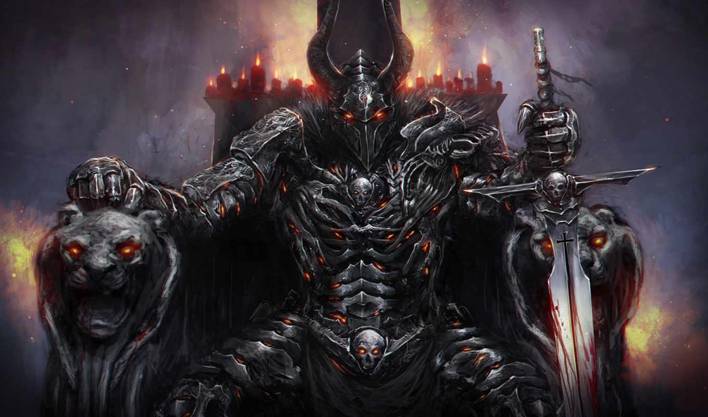 трон, меч, свечи, рыцарь, рогатый,