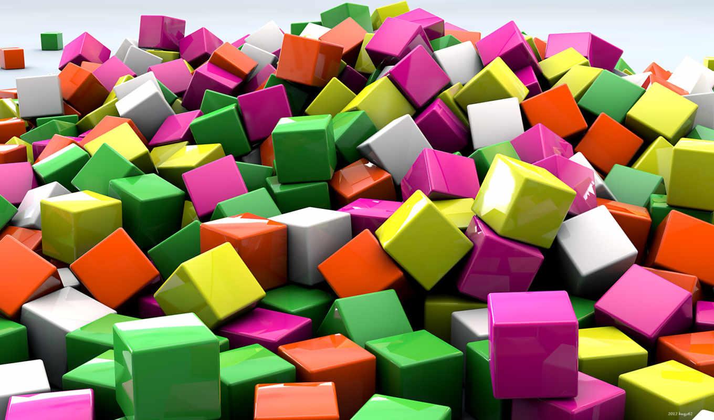 трехмерной, графикой, фона, кубики, cubes, multicolor,