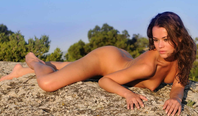 девушка, скалах, красивая, голые,