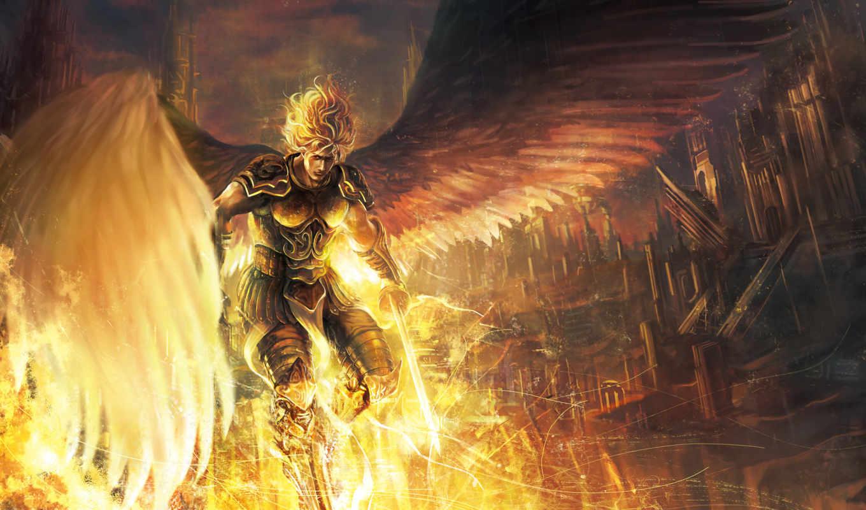 крылья, фэнтези, воители, ангелы, арт, мужчины, меч, плащ, оружие, ангел, парень, фантастический,