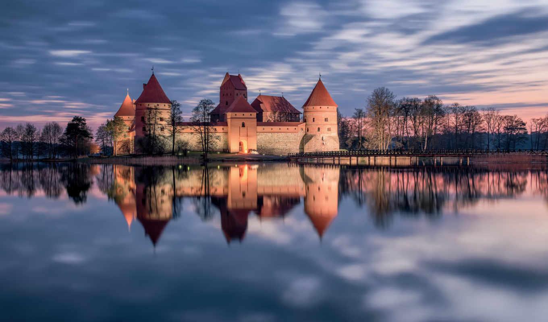 тракайский, замок, литва, закат, озеро, отражение, castle,
