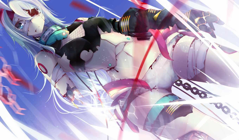robot, девушка, механизм, art, бинты, кровь, цепь, anime, nmaaaaa,