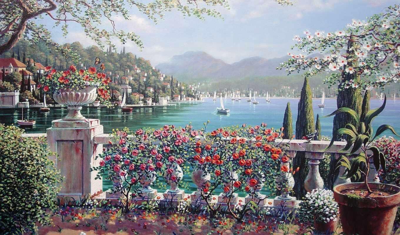 балкон, цветы, город, весна, artist, озеро, море, bean, peiman