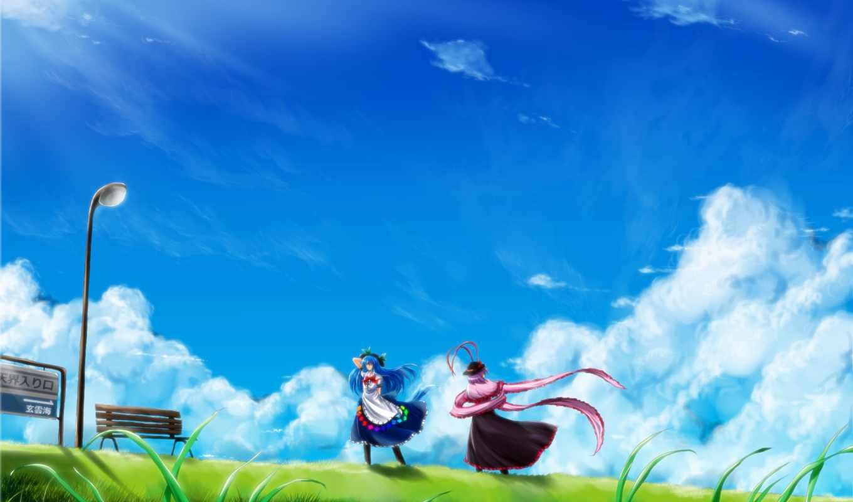 anime, nagae, iku, трава, арт, image, tenshi, небо, зелень, лавочка, пейзаж, hinanawi, фонарь, девочки, облака, picsfab, картинок, фабрика, код,