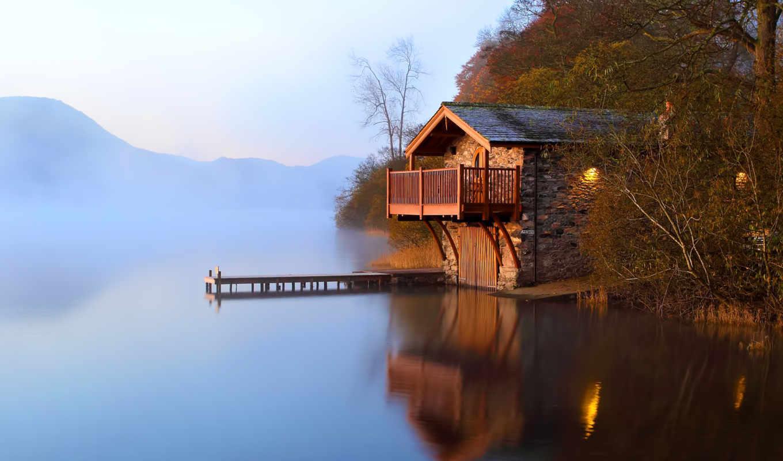 озеро, причал, туман, рассвет, сарай, осень, природа, кнопкой, картинку, правой, домик, facebook, картинка, landscapes,