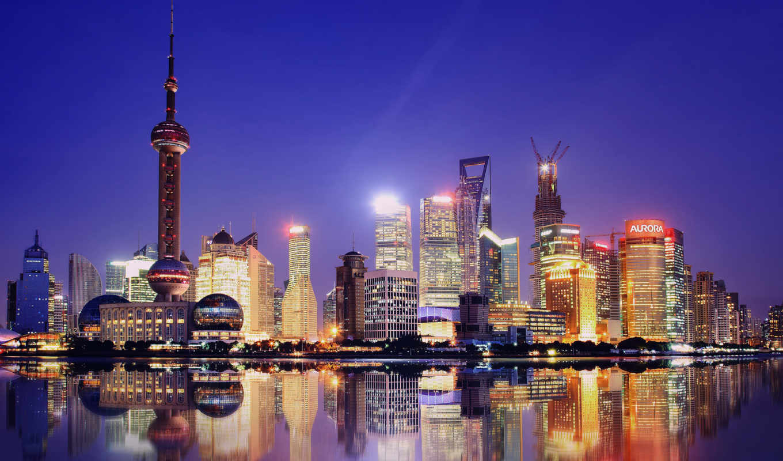 shanghai, china, город, ночь,