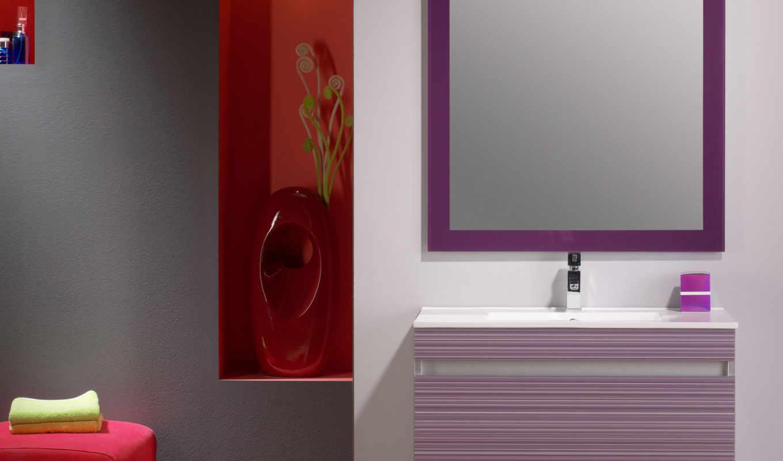 комнаты, ванной, тонах, ванна, красных, маленькой, ванные, красные, интерьер,