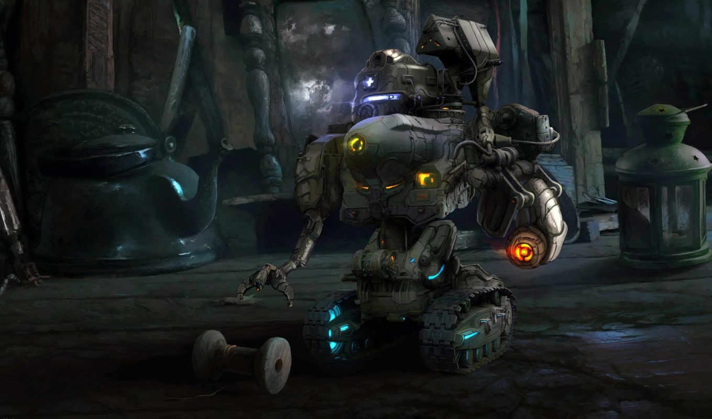 sci, fantasy, город, robot,