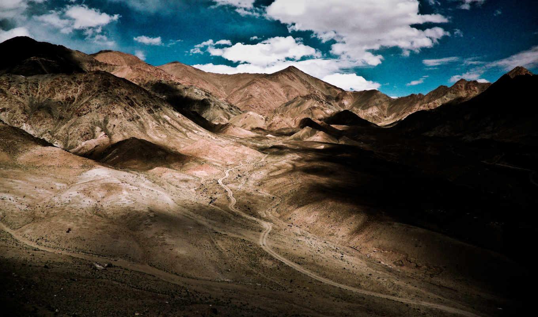 , горы, небо, тени,