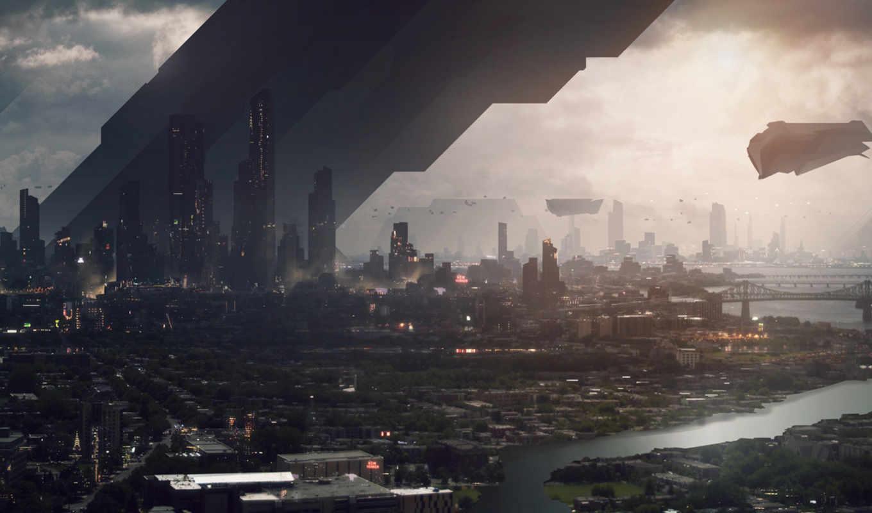 обои, город, будущее, фантастика, небоскребы, река