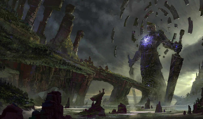 арт, гигантское, существо, скалы, море, люди, oyo, меч, картинку, магия, вызов, монстр, воин, кнопкой, картинка, правой,