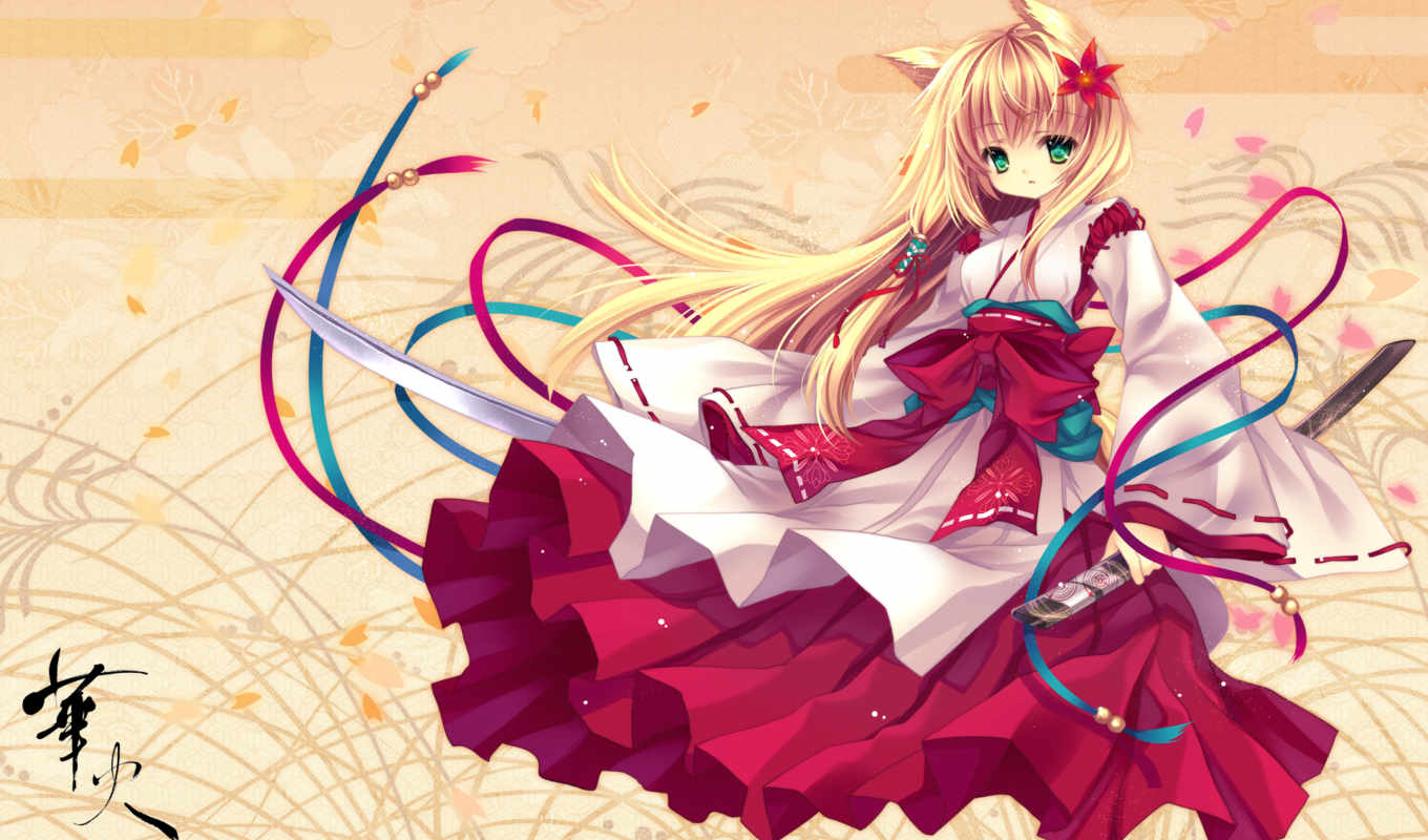 anime, girl, samurai, kimono, girls, neko, download,