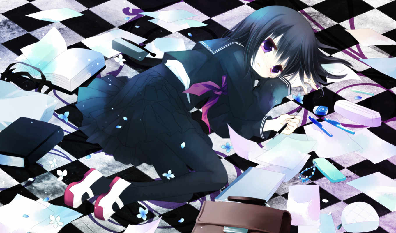 anime, другое, sakurazawa, izumi, девушка, unknown, black, eyes, картинку, книги, purple, форма,