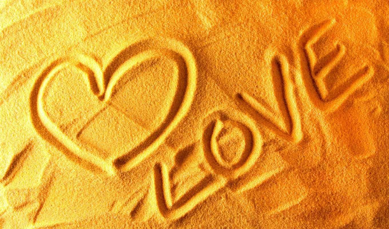 love, сердце, песок, признание, жёлтый