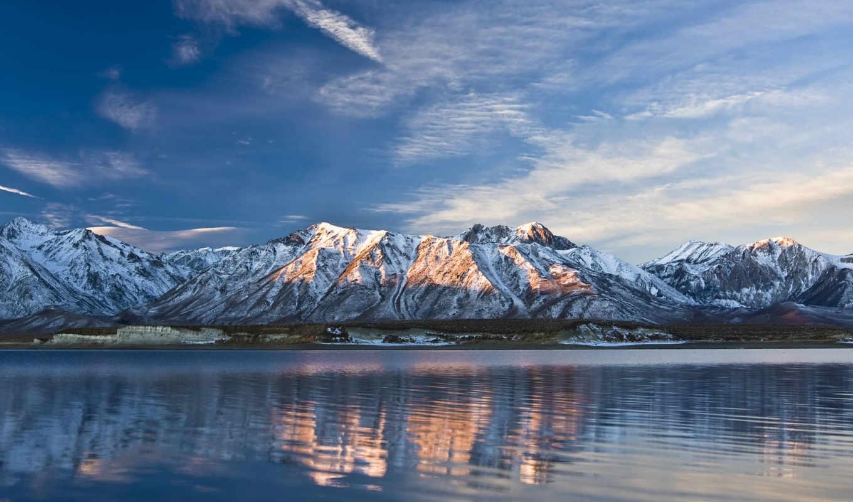 горы, небо, облака, озеро, природа,