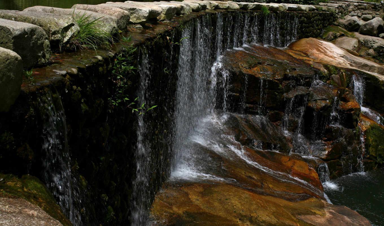 ,водопад, камни, лес, трава, скалы, капли,