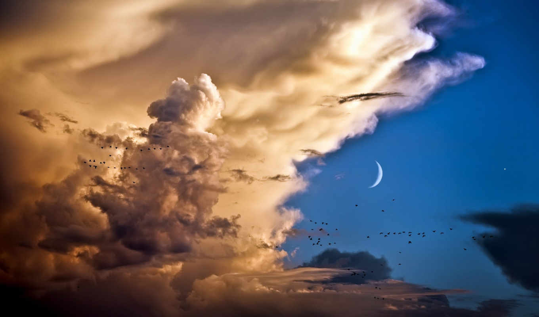 ,небо, облока, месяц,