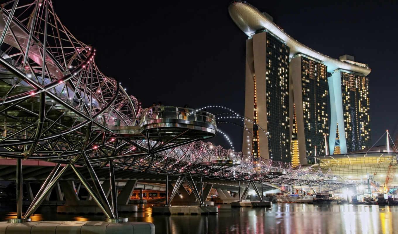 singapore, города, картинка, ночь, вечер, побережье,