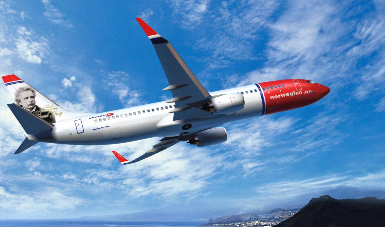 самолёт, летит, boeing, небо, авиалайнер, воздухе, norwegian, авиация, air, закат,