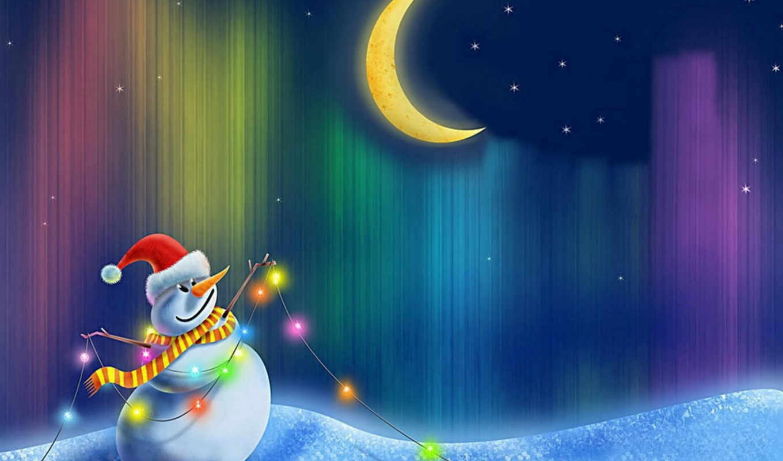 snowman, happy, free, christmas, moon,