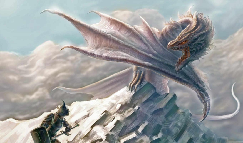 дракон, воин, человек, фэнтези, щит, доспехи, меч, облака, ярость, гора, изображения, white,