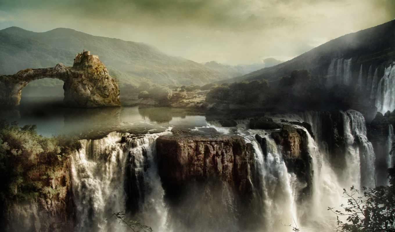 горы, водопады, скалы, пейзаж, небо, часть, картинок,