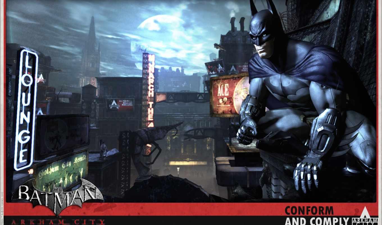 вывески, ночь, город, луна, batman, arkham,